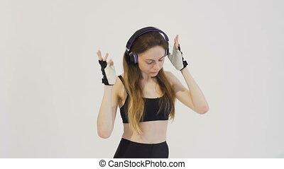 Enjoying Dancing after Fitness - Pretty dark hair girl,...