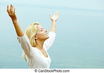Enjoying freedom - Portrait of beautiful female enjoying ...
