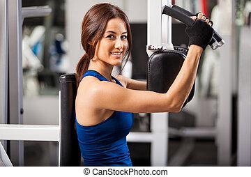 Enjoying my workout at the gym