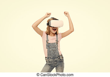Enjoying new experience. The future of VR is here. Little girl wearing virtual reality headset. Future of entertainment and education. The future of entertainment. Future concept