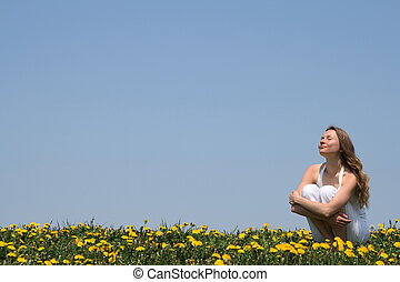 Enjoying sunshine - Young woman enjoying sunshine in a ...