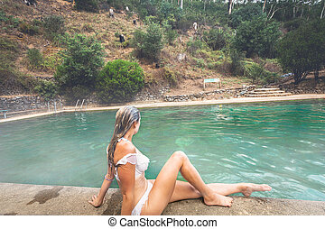 Enjoying the subterranean spring fed thermal pooll in the ...