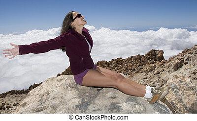 Enjoying the top of the mountain