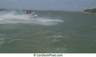 Enjoying Water Motorbike Ride, Lady Elliot Island