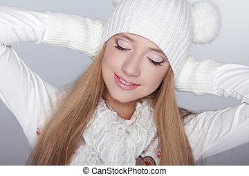 Enjoyment. Eyes makeup. Beauty Model Winter Girl Portrait . Beautiful Woman Face.