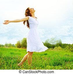 enjoyment., gratis, lycklig woman, avnjut, nature., flicka, utomhus