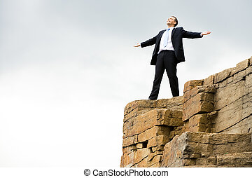 Enjoyment - Happy businessman stands on the mountain and ...