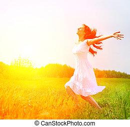 enjoyment., kosteloos, gelukkige vrouw, het genieten van,...