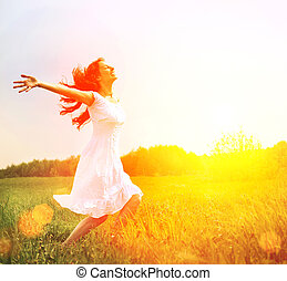 enjoyment., kosteloos, gelukkige vrouw, het genieten van, nature., meisje, buiten