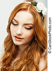 Enjoyment. Portrait of Authentic Golden Hair Woman with Natural Clean Healthy Skin. Femininity