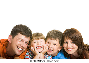 Enjoyment - Line of happy family members having fun and...