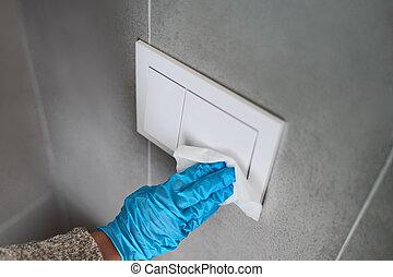 enjugar, toalla, papel, superficie, hogar, botón, interruptores, superficies, guantes, pared, esterilización, sanitizer, paños