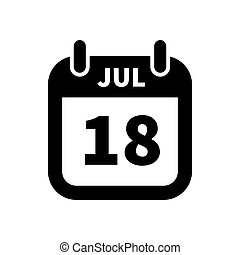 enkel, 18, juli, isoleret, sort, dato, hvid, kalender, ikon