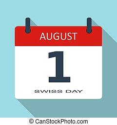 enkel, app, nymodig, plats, underteckna, holiday., kalender, august., 1, day., month., lägenhet, mall, nät, illustration, datera, mobil, dagligen, vektor, schweizisk, icon., tid