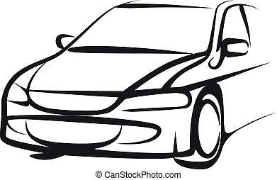 enkel, automobilen, illustration