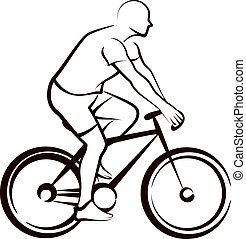 enkel, bicycler, illustration