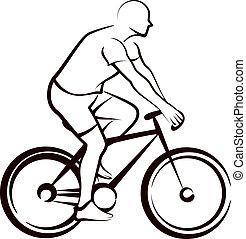 enkel, bicycler, illustration