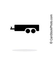 enkel, bil, bakgrund., vit, släpvagn, ikon