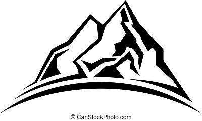 enkel, bjerg, silhuet