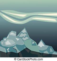 enkel, blå bjerg