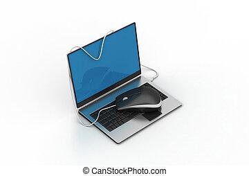 enkel, blå, laptop, hos, mus