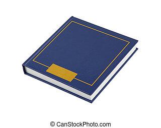 enkel, blåttar kvadrerar, bok, isolerat