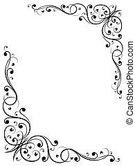 enkel, blommig, abstrakt, b