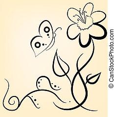enkel, blommig, bakgrund