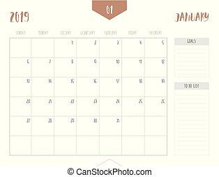 enkel, bord, kalender, storlek, stil, 21, ), (, start, cm;, sunday., 2019, vecka, fyllda, mål, box;, 16, januari, lista, vektor, ren, x