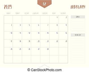 enkel, bord, kalender, storlek, stil, 21, ), (, start, cm;, sunday., 2019, vecka, fyllda, mål, box;, februari, 16, lista, vektor, ren, x
