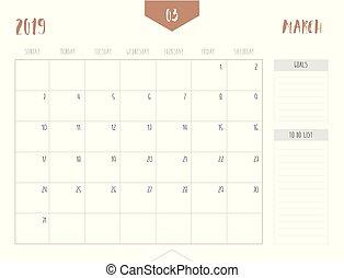 enkel, bord, kalender, storlek, stil, 21, ), (, start, söndag, cm;, 2019, vecka, fyllda, mars, mål, box;, 16, lista, vektor, ren, x