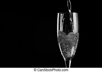 enkel, champagne fluit, gevulde, met, mousserende wijn