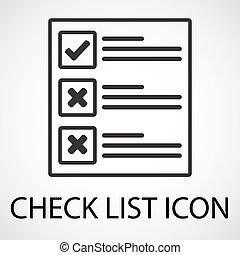 enkel, checklista, ikon, vektor