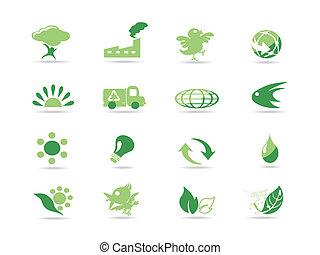 enkel, eco, grön, ikonen