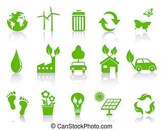 enkel, eco, sätta, grön, ikonen