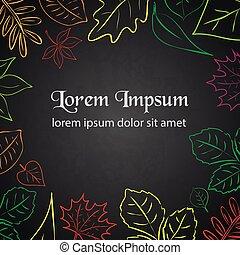 enkel, efterår blad, farve, grænse, by, din, tekst, eps10