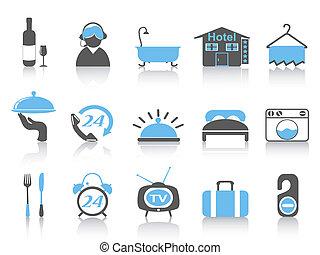 enkel, farve, hotel, iconerne