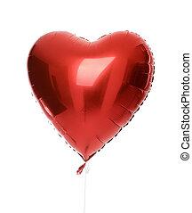 enkel, groot, rood hart, balloon, voorwerp, voor, jarig,...