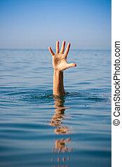 enkel, hand, van, verdrinking, man, in, zee, vragen, voor, helpen