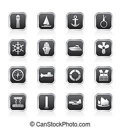 enkel, hav, marin, afsejlingen, ikon