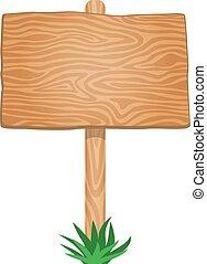enkel, hout, signboard, lege