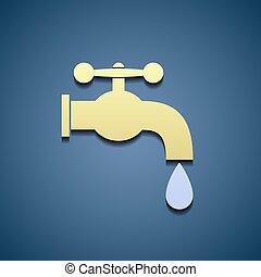 enkel, ikon, kran, water.