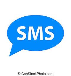 enkel, ikon, sms