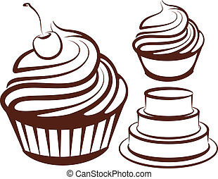 enkel, illustration, desserter