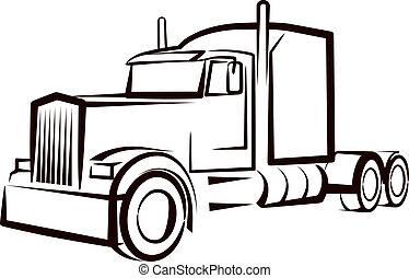 enkel, illustration, hos, en, lastbil