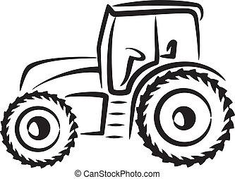 enkel, illustration, traktor