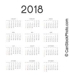 enkel, illustration, vektor, 2018, bakgrund, engelsk, kalender, vit
