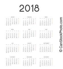 enkel, illustration, vektor, tyskland, 2018, bakgrund, kalender, vit