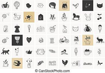enkel, illustrationer, vektor, hand, oavgjord, elementara, doodles
