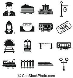 enkel, järnväg, sätta, svart, ikonen